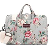 Canvaslove Grey Rose Pattern Water Resistant Laptop Shoulder Messenger Bag for MacBook Pro 16 inch and 14 inch to 15.6 inch L