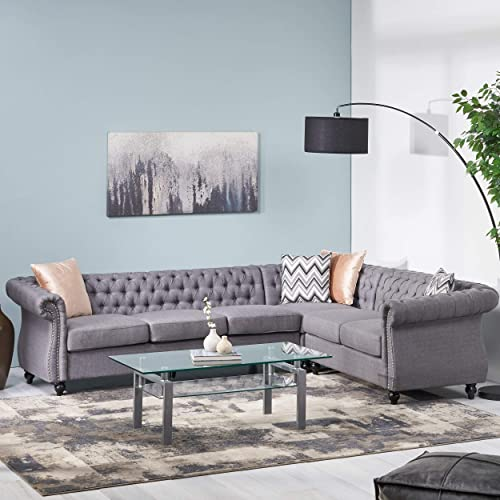 Caroline 6 Seater Fabric Tufted Chesterfield Sectional, Dark Gray and Dark Brown