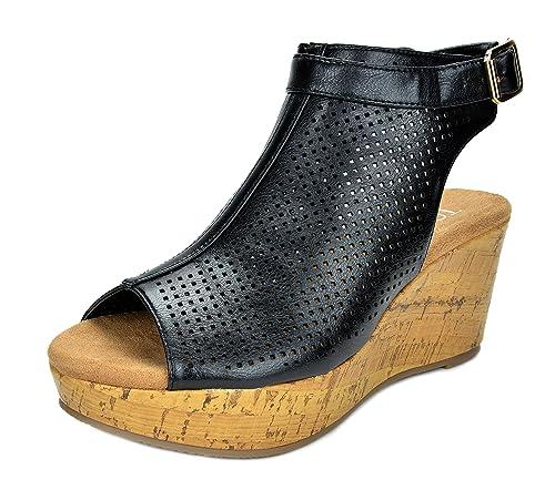 c2bf422001 TOETOS Women's Sandro-03 Black Pu Mid Heel Platform Wedges Sandals - 5 ...