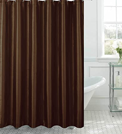 Jane Faux Silk Shower Curtain With 12 Metal Rings Chocolate