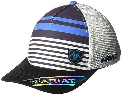 best sneakers e3ea0 03f35 Amazon.com  ARIAT Men s Blue Stripe Offset Logo Cap, OSFM  Clothing