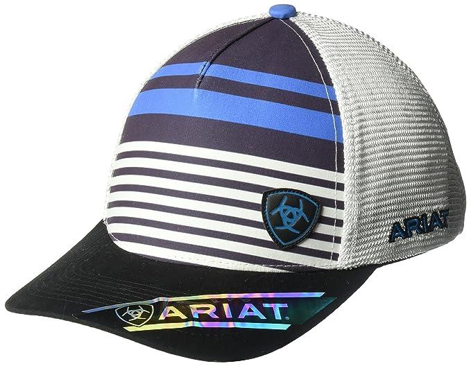 b8df42ffa64cc ... denmark ariat mens stripe offset logo cap blue adefe 2bbfc