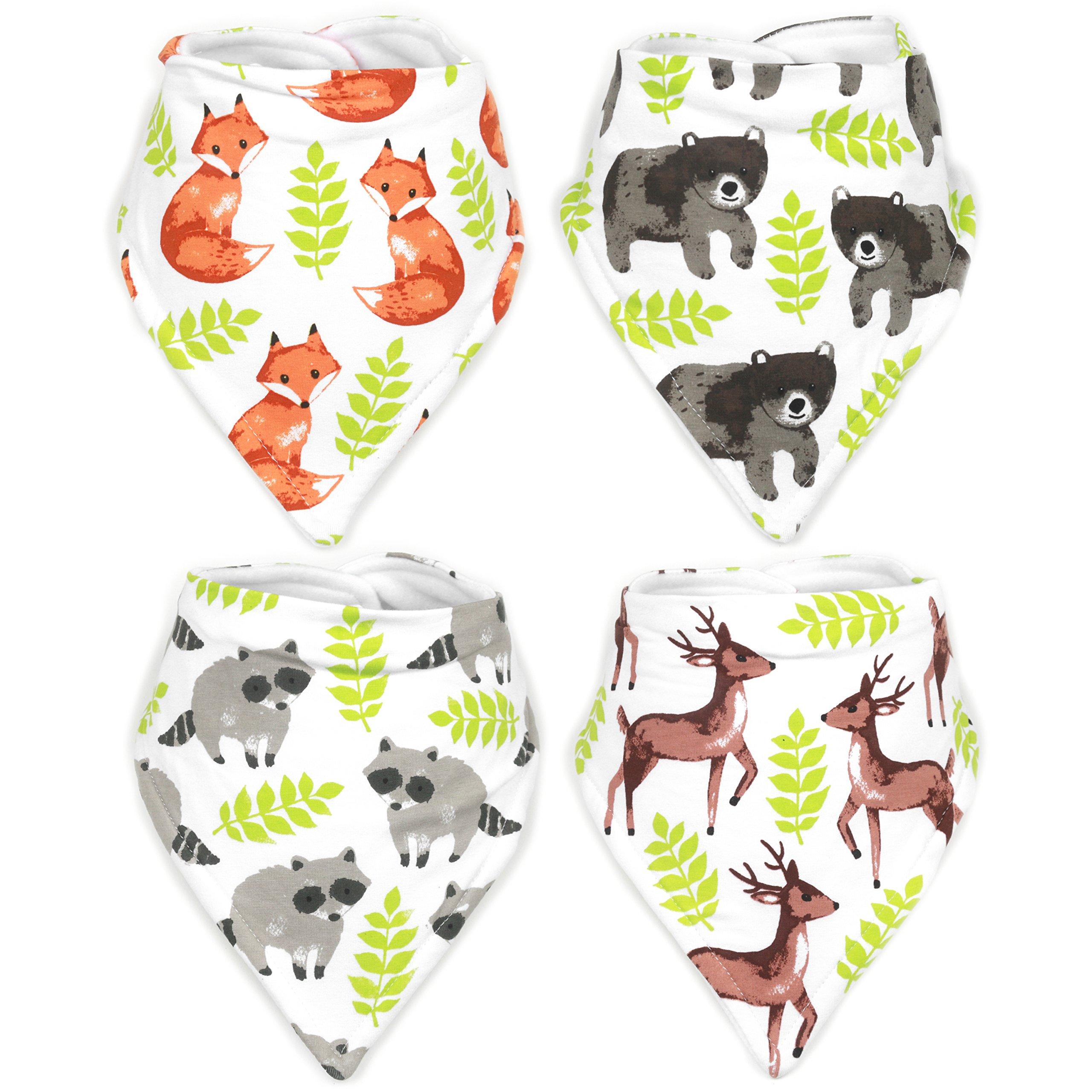 Stadela Baby Adjustable Bandana Drool Bibs for Drooling and Teething Nursery Burp Cloths 4 Pack Unisex Baby Shower Gift Set for Girl and Boy – Enchanted Forest Woodland Animal Fox Bear Deer Raccoon