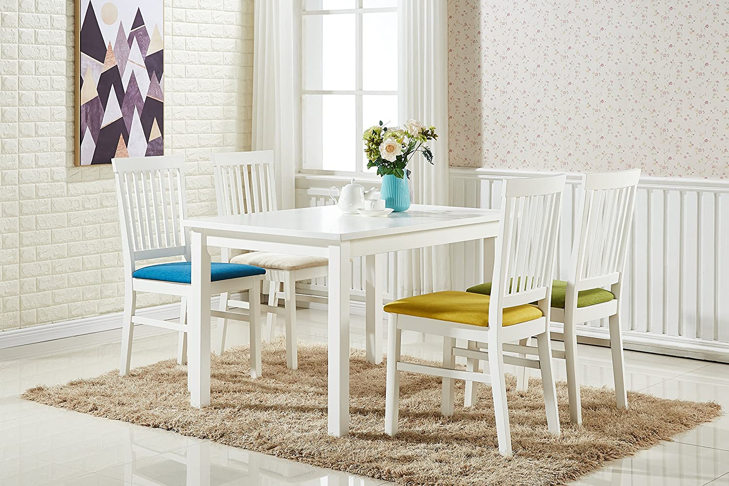 Incredible Pn Homewares Florence Dining Table And 4 Chairs Set Multi Colour Chair Seats And White Wooden Table And Chair Set Home Interior And Landscaping Ferensignezvosmurscom