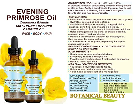 Amazon.com: EVENING PRIMROSE OIL. 100% Pure / Natural / Undiluted / Refined / Cold Pressed Carrier Oil. Rich antioxidant to rejuvenate and moisturize the ...