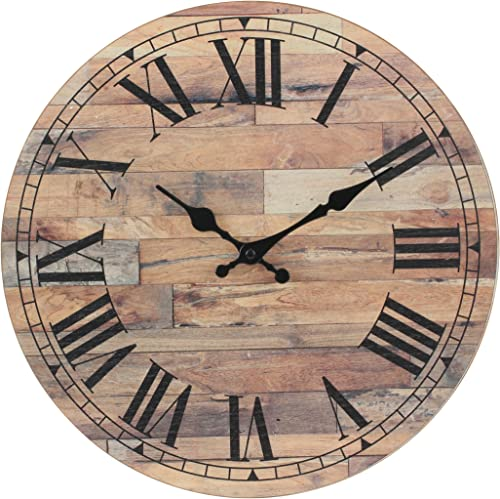 Stonebriar Old Fashioned 14 Inch Round Wood Hanging Wall Clock, Battery Operated, Rustic Wall Decor for the Living Room, Kitchen, Bedroom, and Patio