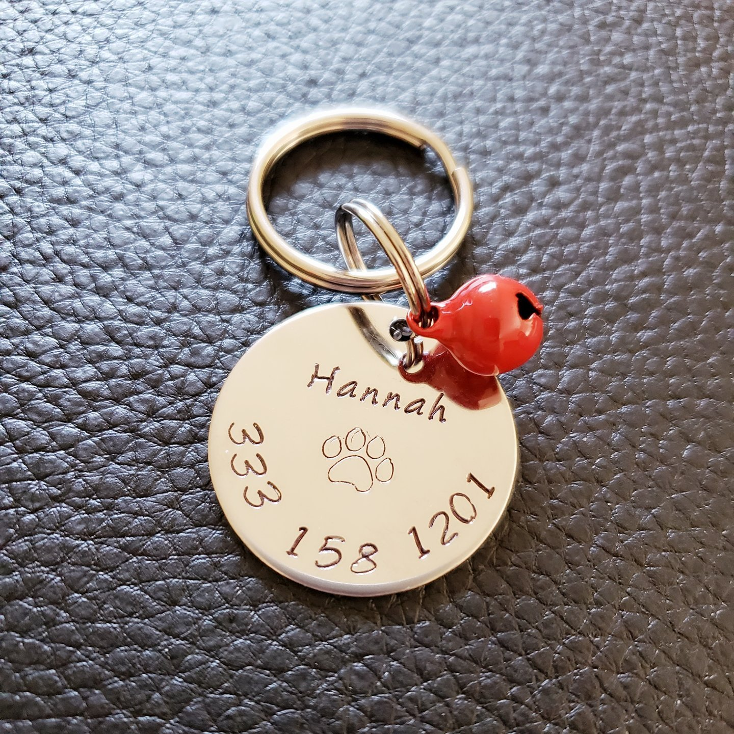 Personalized Dog Tag Dog Name Collar Tag Pet ID Collar Tag Stainless Steel Disc Dog Tag with Bell