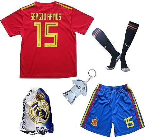 KID BOX 2018 España SERGIO RAMOS #15 - Camiseta de fútbol para niños (tallas para jóvenes), 3-4 Años, Home: Amazon.es: Deportes y aire libre
