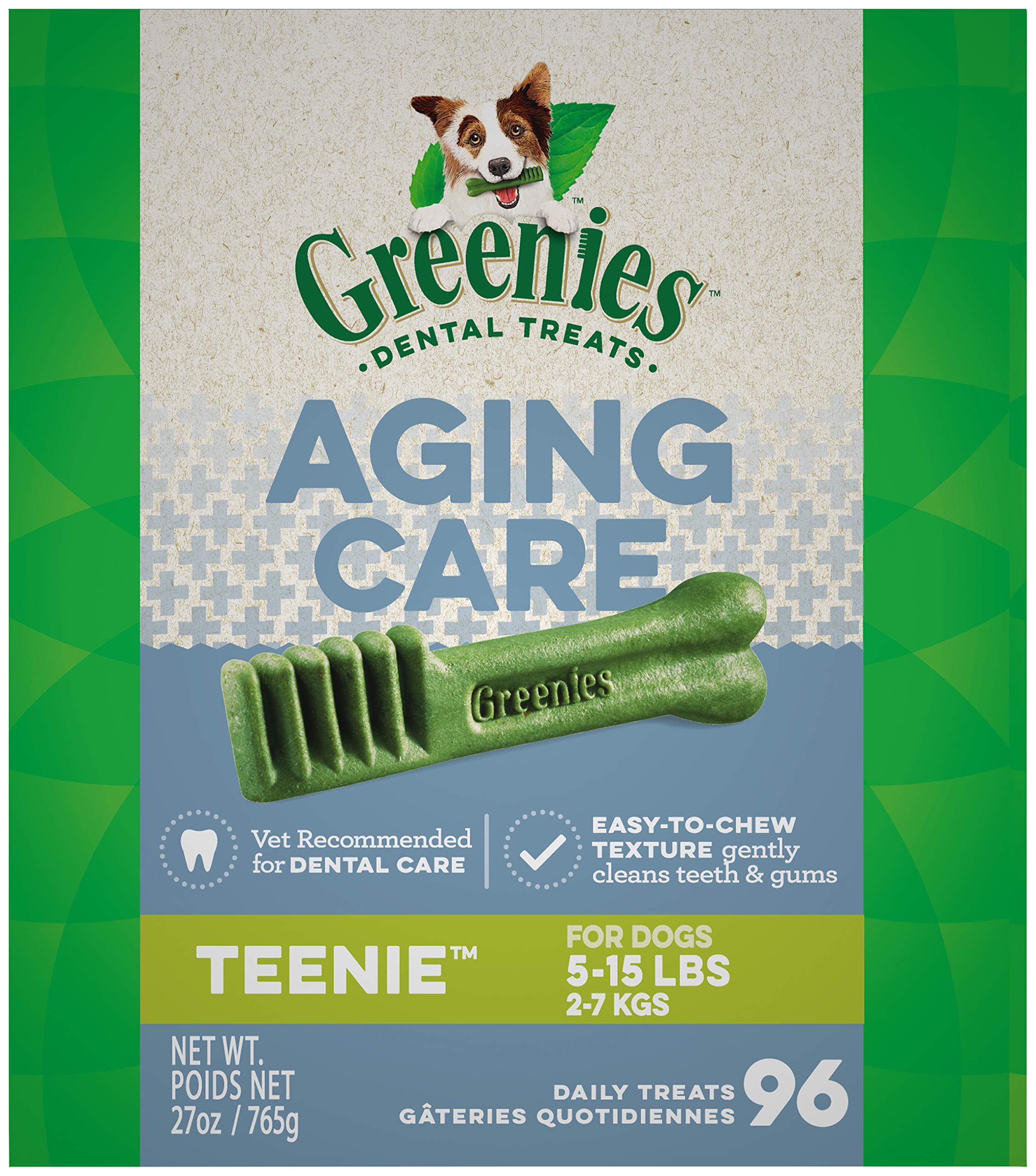 GREENIES Aging Care TEENIE Natural Dog Dental Care Chews Oral Health Dog Treats, 27 oz. Pack (96 Treats) by Greenies