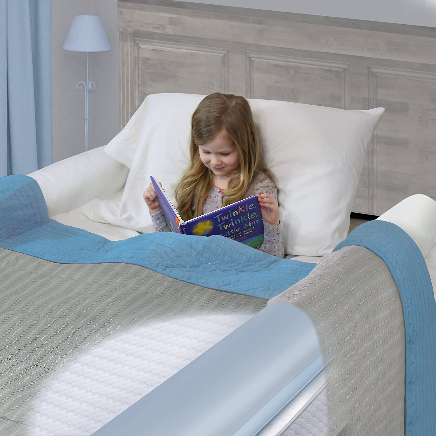 With Non-Slip Grip Great For Home Hotel Or Travel. Royexe 2 Pack The Original Portable Toddler Bed Rail Bumper Kids Inflatable Safety Guard For Bed Fits All Sizes Beds Waterproof Leak-Proof