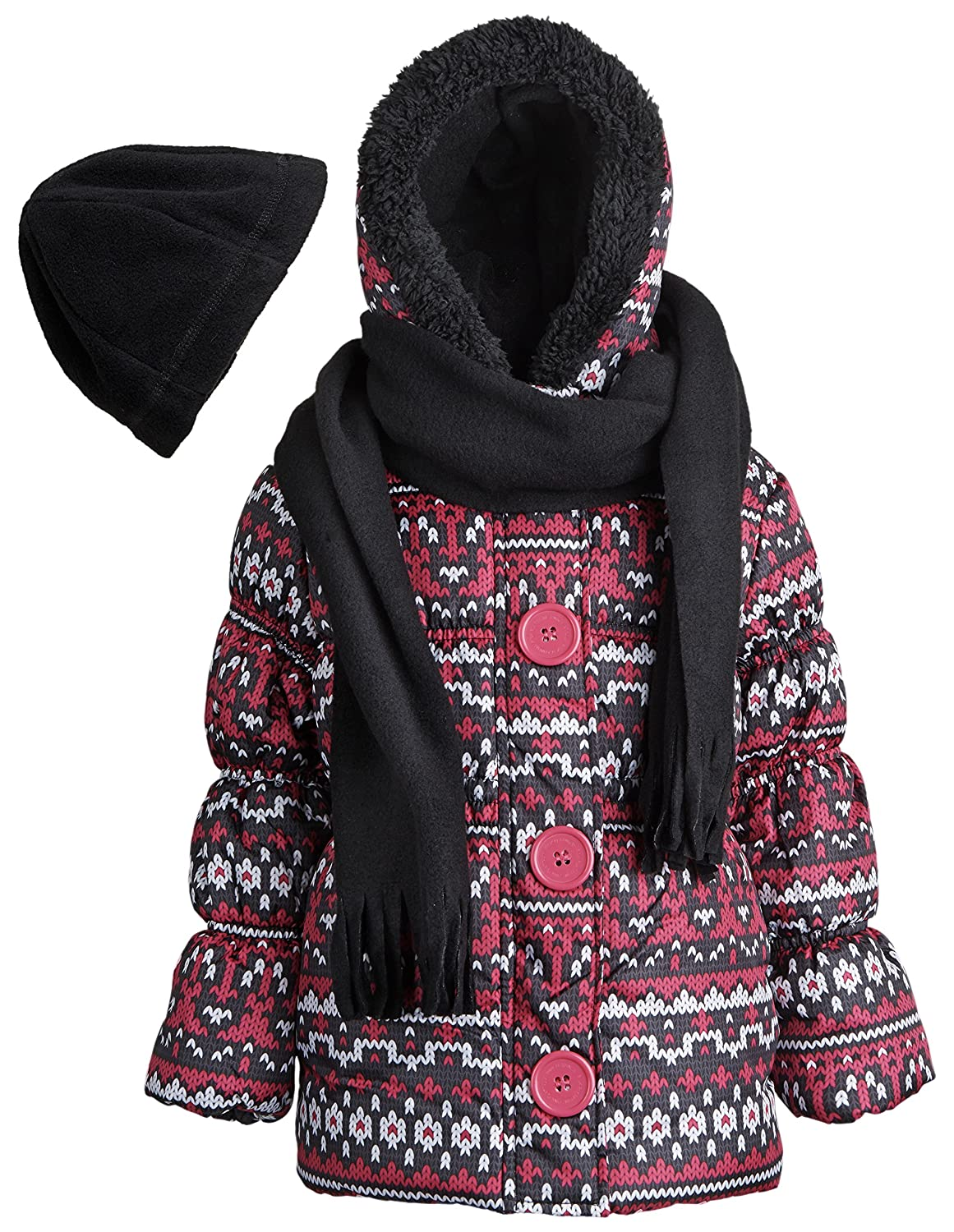 Size 2T Pink Platinum Little Girls Winter Quilted Puffer Coat with Fleece Hat and Scarf Black