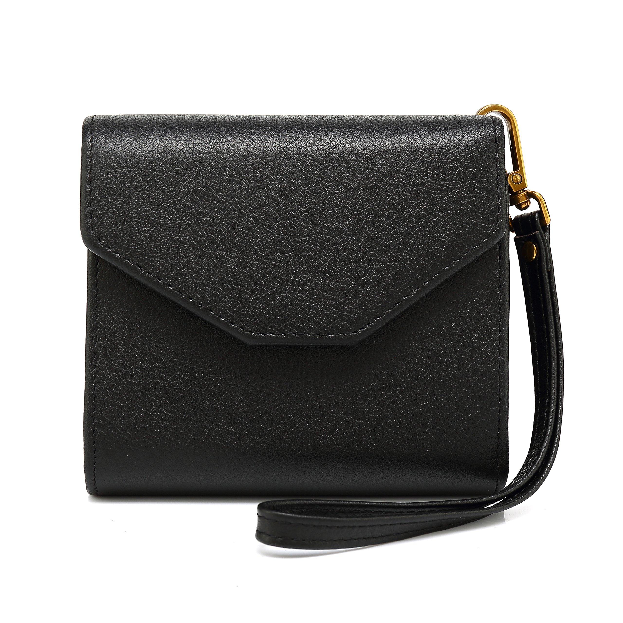 Pomoda RFID Blocking Wallet, Envelope Style Leather Wallet Fashion Pocket (Black)
