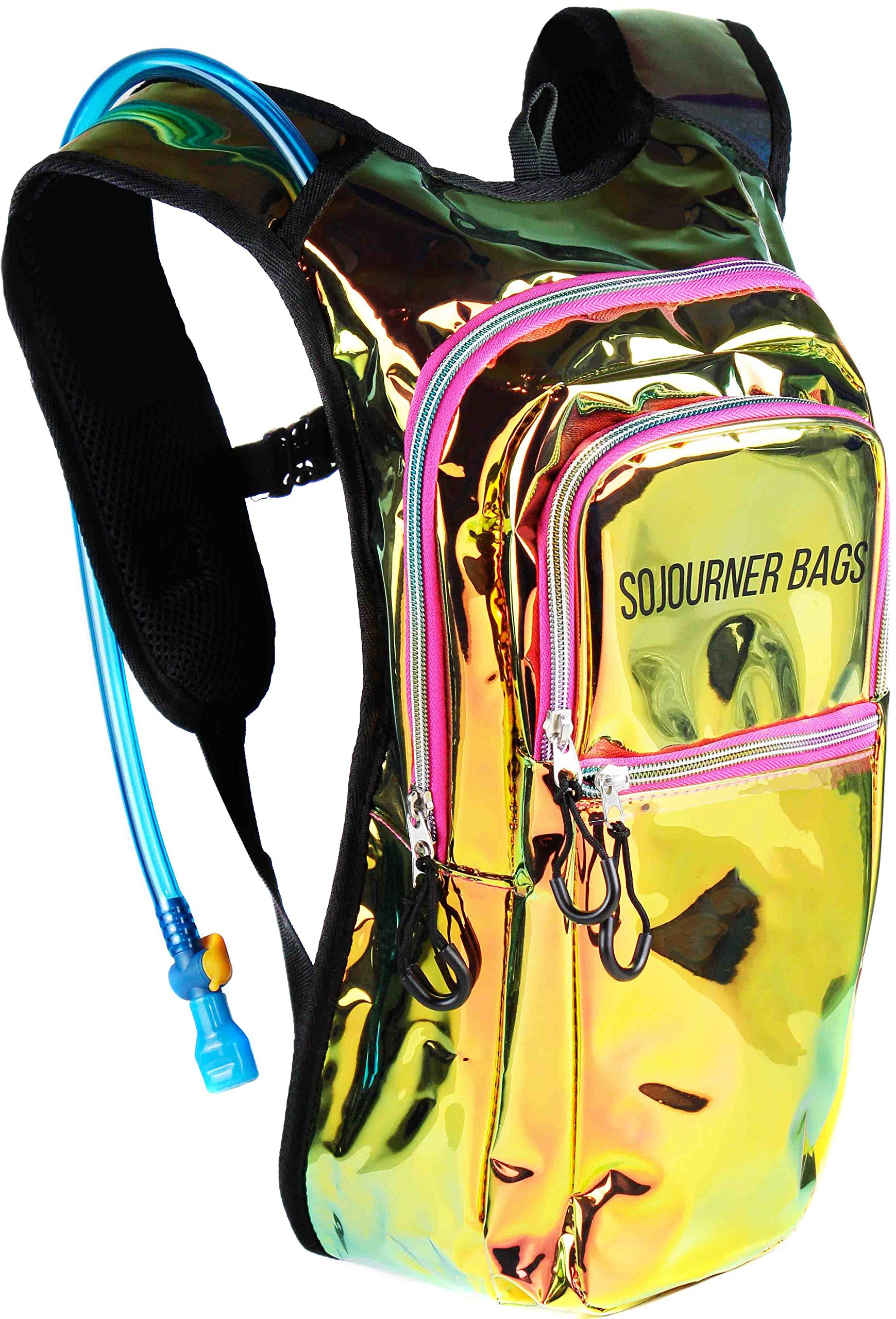 Sojourner Rave Hydration Pack Backpack - 2L Water Bladder Included for Festivals, Raves, Hiking, Biking, Climbing, Running and More (Multiple Styles) (Laser Holographic - Pink)