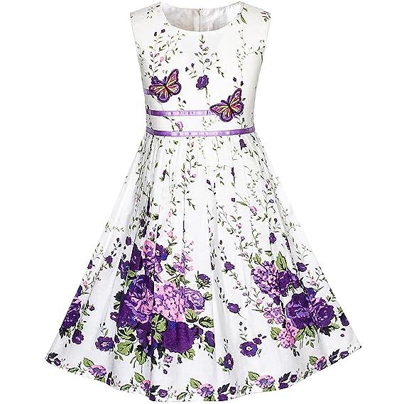 c8148a018 Sunny Fashion Vestido para niña Morado Rosa Flor Doble Corbata de moño  Fiesta niños Sol 4-12 años
