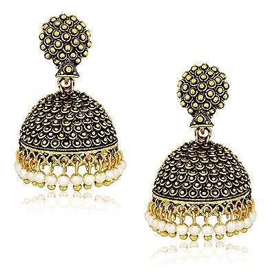 Jewelry & Watches Gentle Traditional Indian Ethnic Jhumka Jhumki Earrings Blue Antique Oxidized Jewelry Earrings