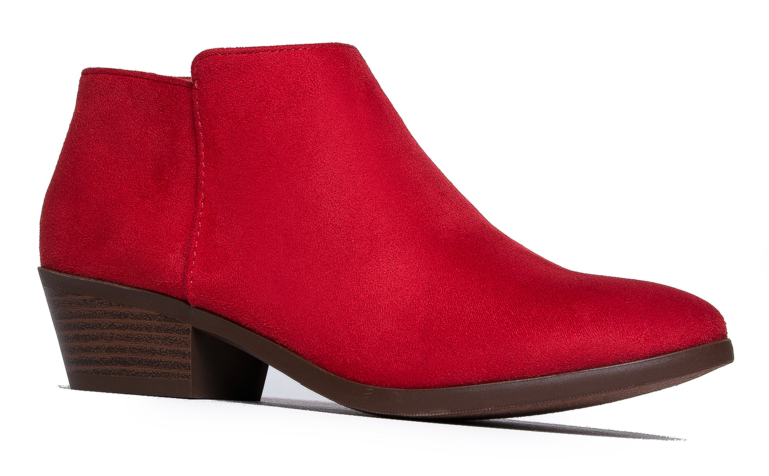 Western Ankle Boot - Cowgirl Low Heel Closed Toe Casual Bootie - Comfortable Walking Slip On, Red, 9