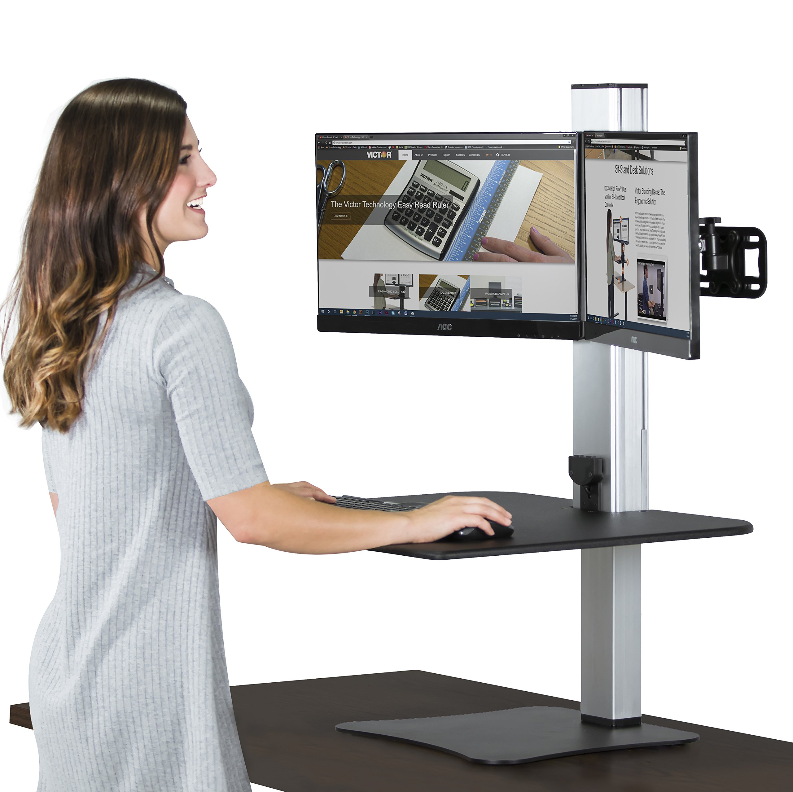 Victor High Rise Collection DC450 dual monitor electric sit stand workstation, motorized standing desk with dual monitor mount, black