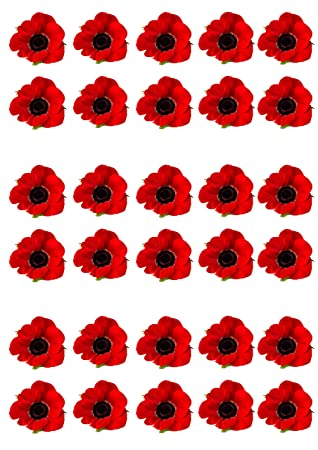 30 red poppy remembrance day flower edible wafer paper cake toppers 30 red poppy remembrance day flower edible wafer paper cake toppers decorations mightylinksfo
