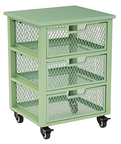 OSP Designs Clayton 3 Drawer Rolling Cart In Metal Finish Frame, Green