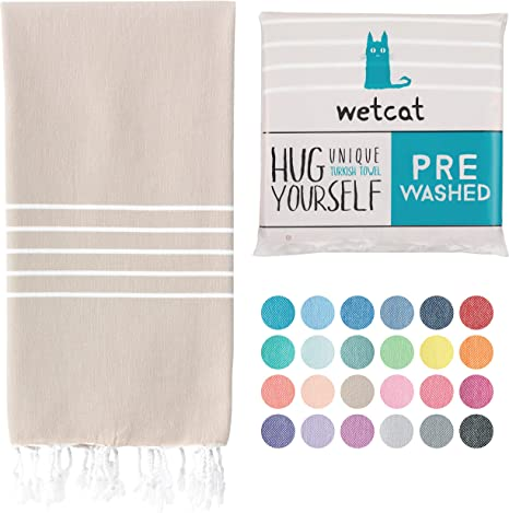 Wetcat Turkish Beach Towel 38 X 71 Prewashed For Soft Feel 100 Cotton Quick Dry Boho Bath Towels With Lively Colors Unique Spa Towels Rustic Bathroom Towel Sand Kitchen Dining