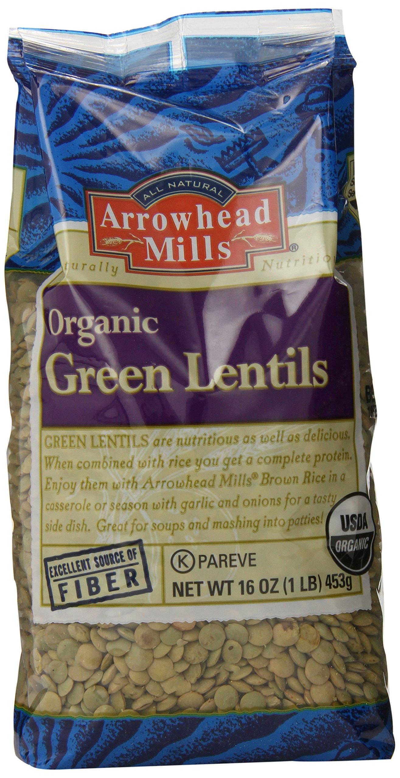Arrowhead Mills Organic Green Lentils, 16 Ounce (Pack of 6)