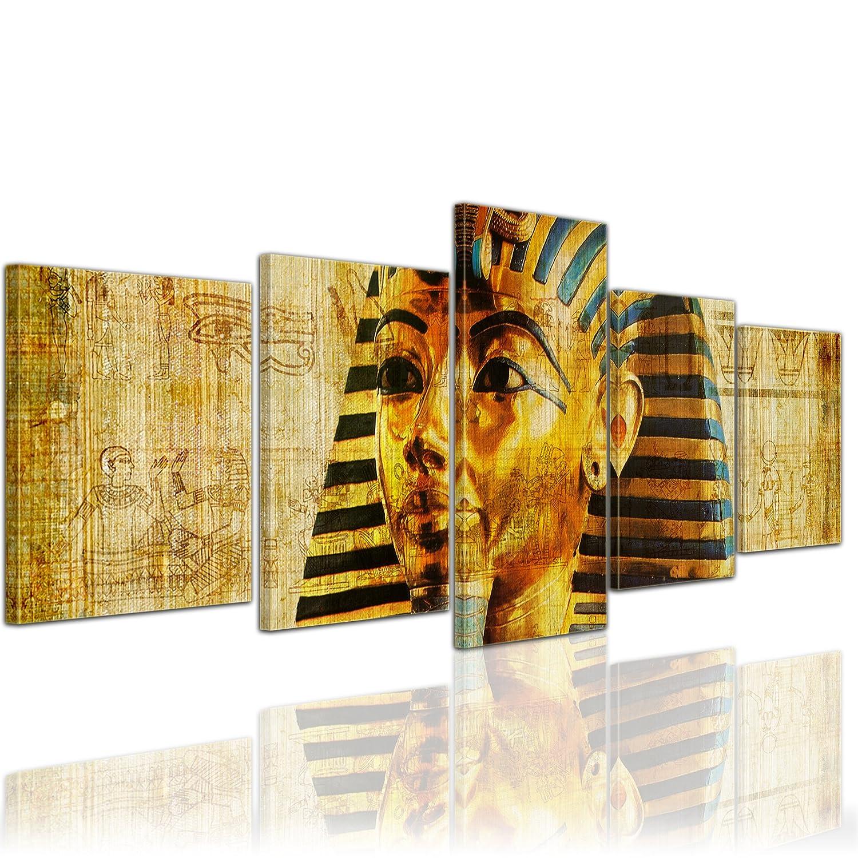 Kunstdruck - Pharao - Ägypten - Bild auf Leinwand - 200x80 cm 5 teilig - Leinwandbilder - Bilder als Leinwanddruck - Städte & Kulturen - Afrika - altes Ägypten - Pharaonenmaske