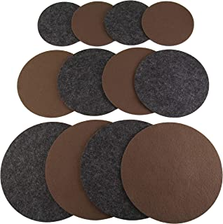 "product image for Drymate Plant Coaster Mat Reversible (Charcoal/Brown), (Set of 12), (4 of Each Size - 6"", 8"", 10""), (Round/Fabric), Absorbent/Waterproof - Protects Surfaces, Contains Liquids (Made in the USA)"