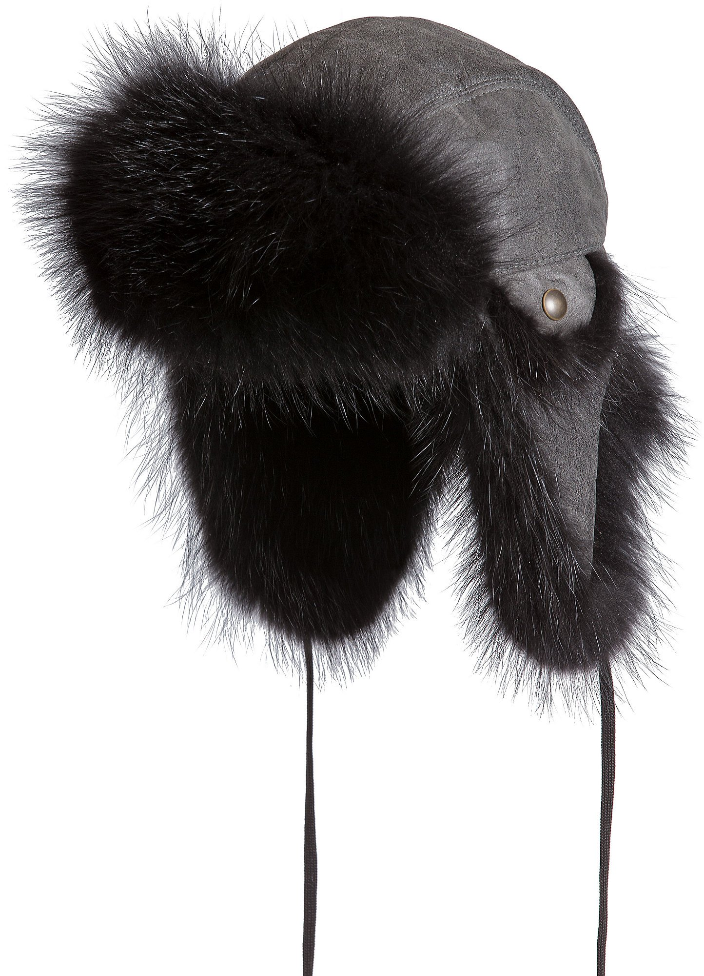 Overland Sheepskin Co. Canadian Leather Trapper Hat With Raccoon Fur Trim, Grey/Black, Size Large (7 1/4–7 3/8)