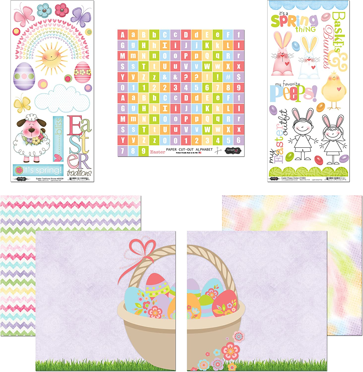 Scrapbook Customs Themed Paper and Stickers Scrapbook Kit, Easter