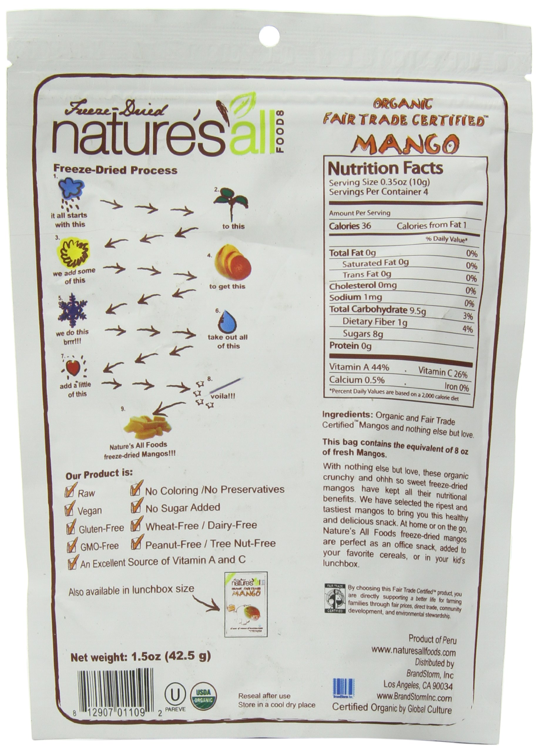 Nature's All Foods Organic Freeze-Dried Mango, 1.5 Ounce (Pack of 3) by Natierra (Image #4)