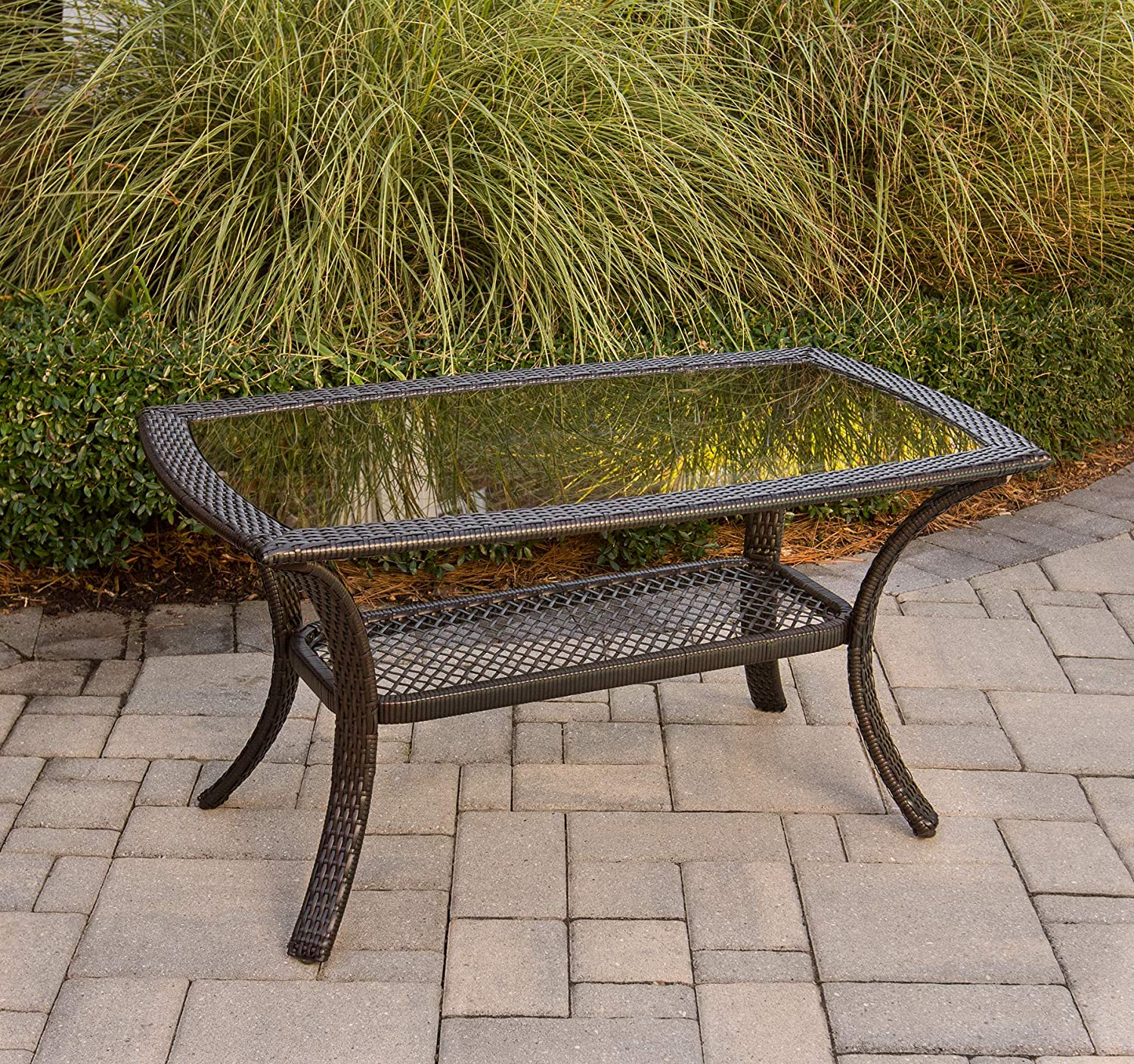 """Hanover ORLEANS1PC-TBL Orleans 26"""" x 43"""" Steel and Glass Top Coffee Table, Brown"""