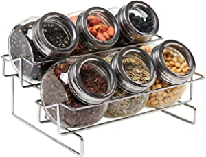 MyGift Metal Spice Container Rack with 6 Glass Jars with Lid, 6-oz Jars