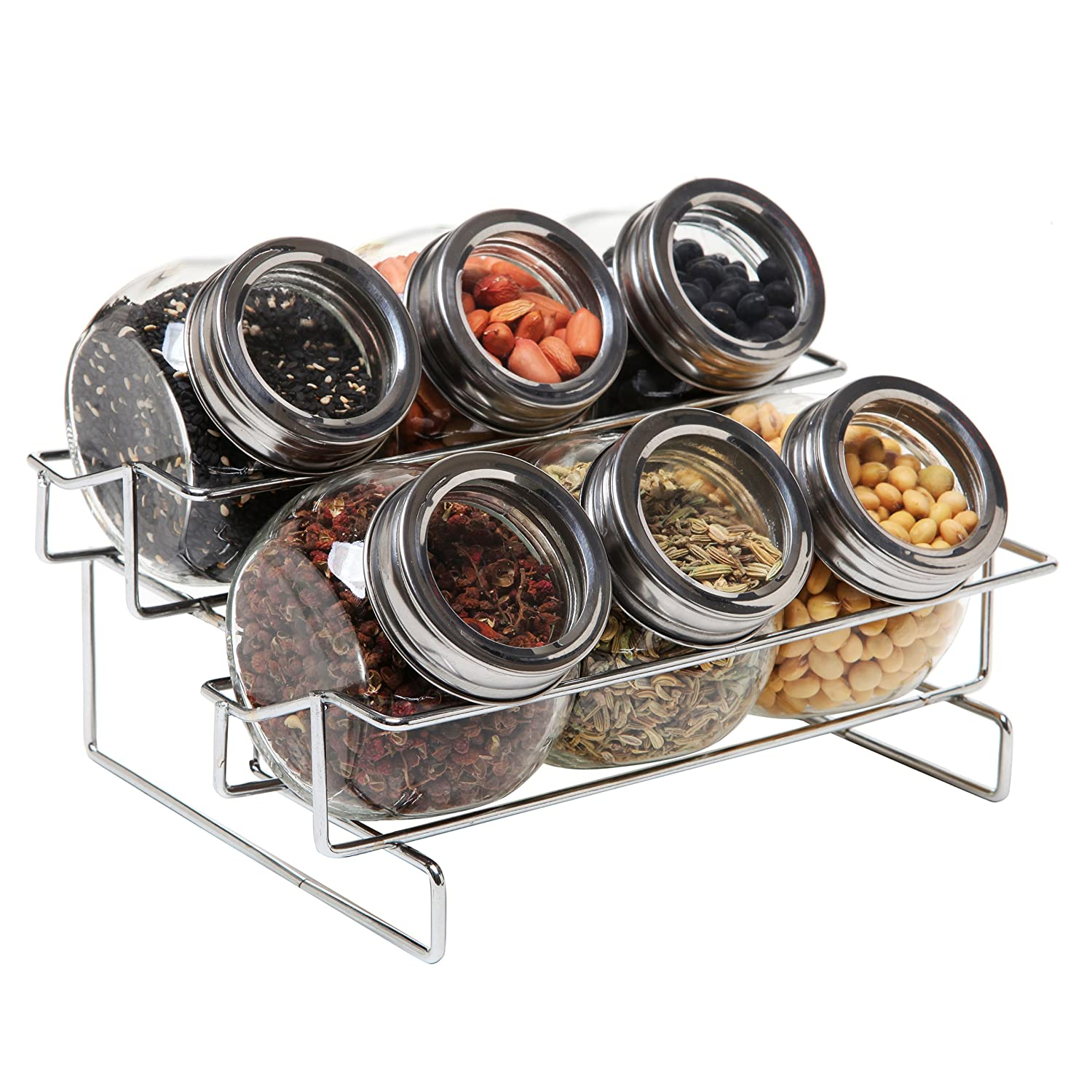Amazon.com: 6 Jar Metal and Glass Food Spice Kitchen Storage Container Rack  - MyGift: Kitchen & Dining