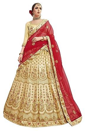 412580e41a7 Manvaa Women S Silk Embroidered Lehenga Choli In Beige Color  Amazon ...