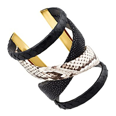 4d7ed985d59 Image Unavailable. Image not available for. Color: Cristina Sabatini Black  Gladiator Cuff Bracelet with Genuine Stingray & Python Leather in 18K Gold-