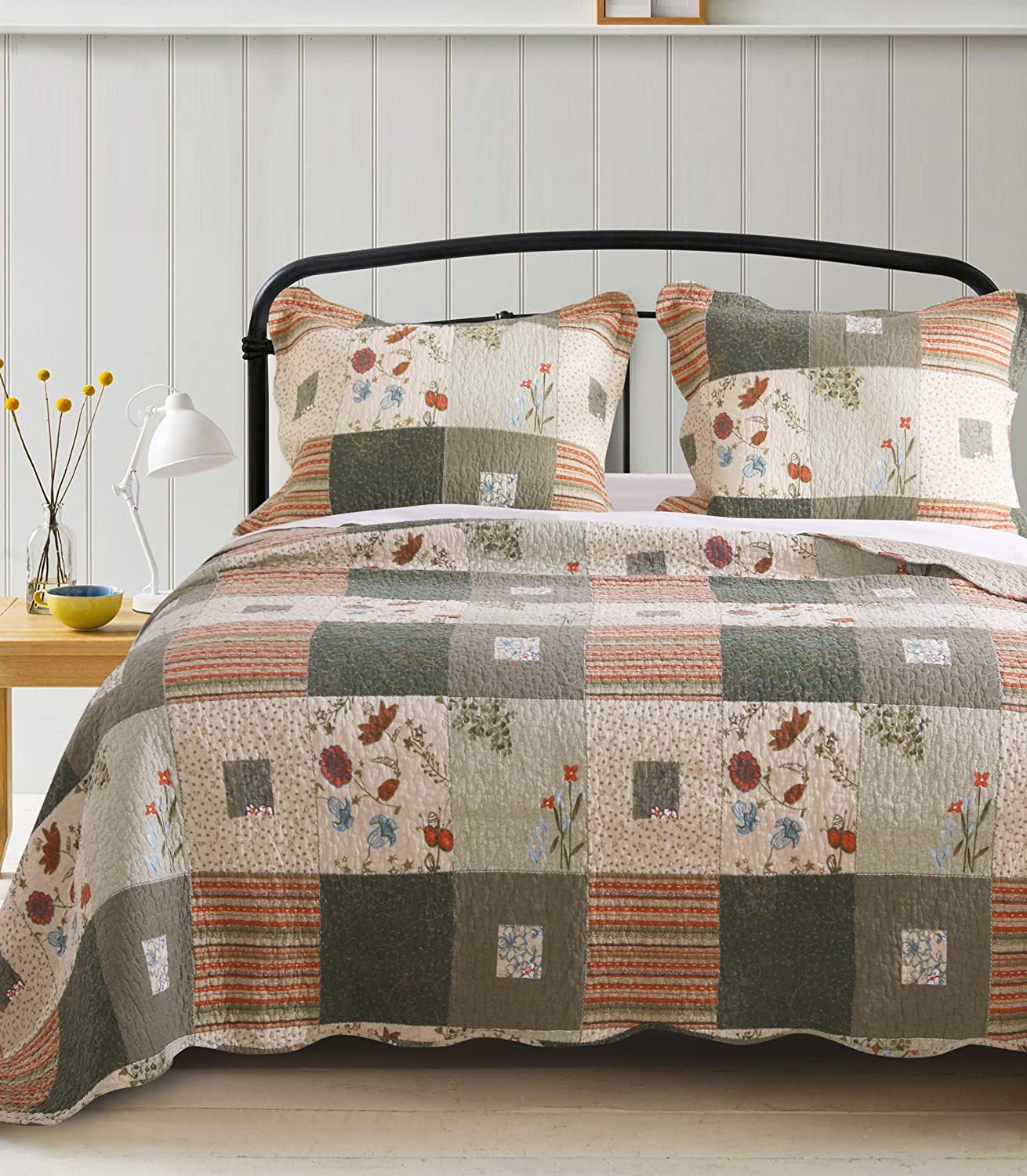 Greenland Home Sedona Quilt Set, 3-Piece Full/Queen, Gray