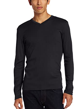 Calvin Klein Men's Long Sleeve Ribbed V-Neck T-Shirt | Amazon.com