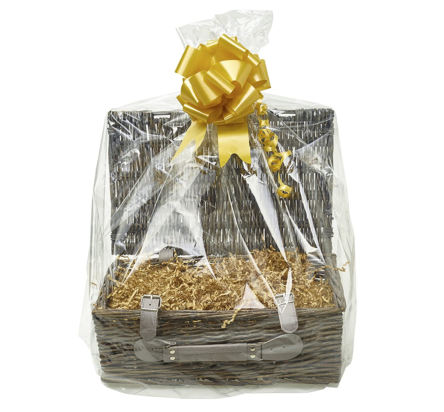 Your Gift Basket - Grey Willow Hamper Basket & DIY Hamper Kit with Light Brown Shred, Gold Bow and Clear Gift Wrap (340 mm Length x 210 mm Wide x 110 mm high)