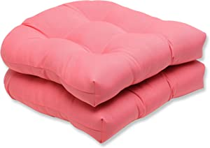 Pillow Perfect Outdoor Fresco Melon Wicker Seat Cushion, Set of 2