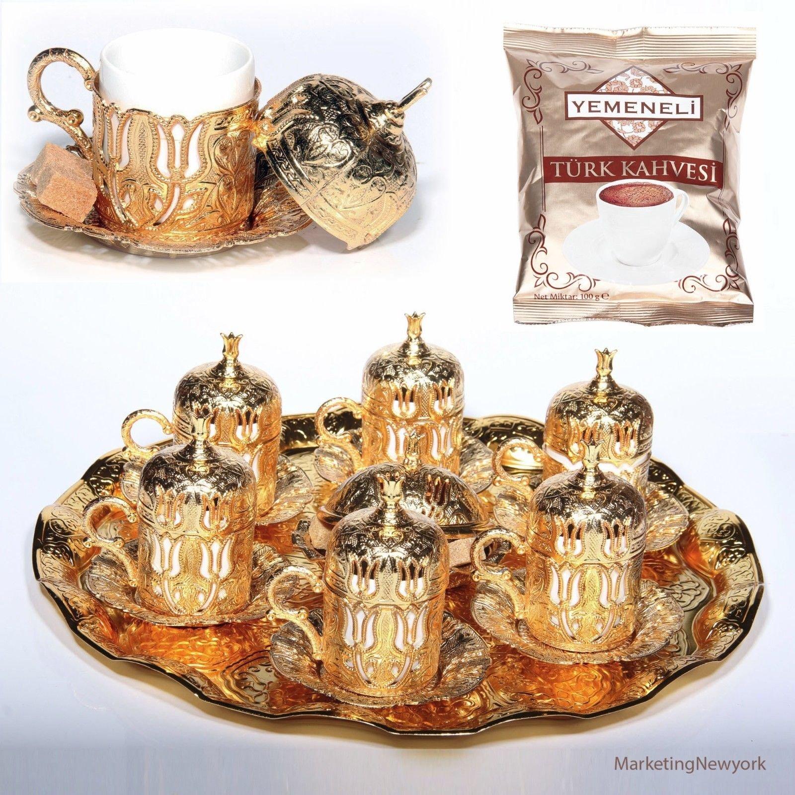 New 27 Pc Ottoman Turkish Greek Arabic Coffee Espreso Serving Cup Saucer Gold