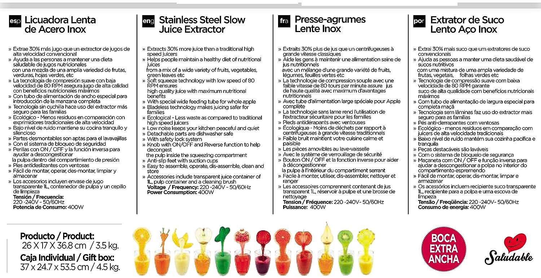 Licuadora de Extracción Lenta de Acero Inoxidable Sogo SS-5110 - 80 RPM - Boca Extra Ancha: Amazon.es: Hogar