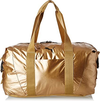 PUMA Damen Tasche Fit AT Workout Bag Gold, Metallic grau