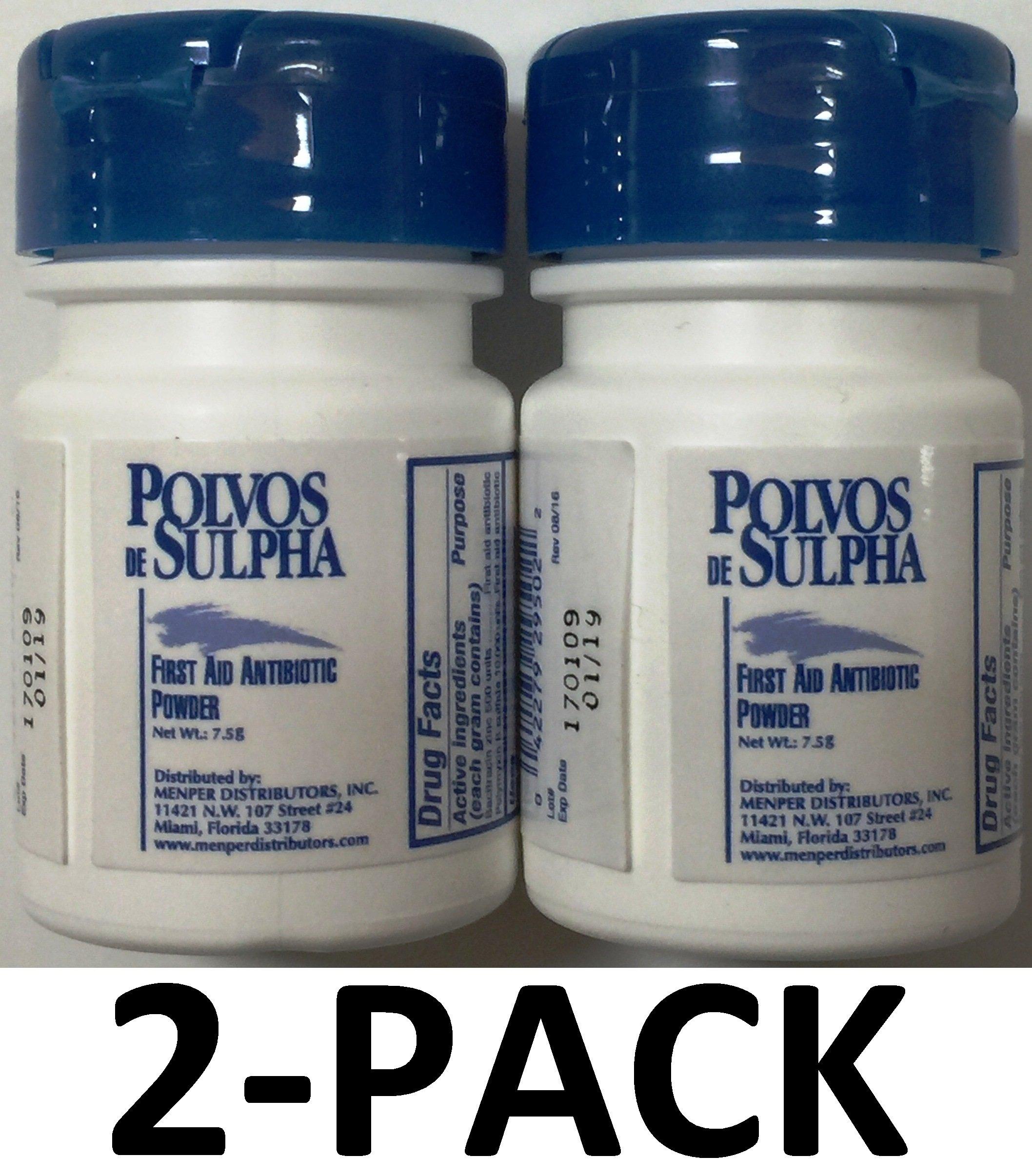 Polvos de Sulpha 7.5 gm.69 oz. First Aid Antibiotic Powder 2-Pack
