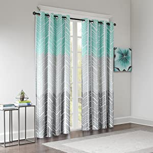 Intelligent Design Blackout Curtains for Bedroom, Casual Aqua Grey Window Curtains for Living Room Family Room, Geometric Adel Grommet Room Darkening Black Out Window Curtain, 50X84, 1-Panel Pack