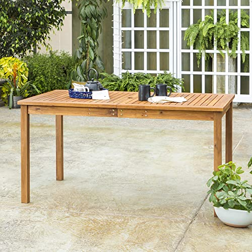 Walker Edison Furniture Company AZWSDTBR 6 Person Outdoor Patio Wood Rectangle Dining Table All Weather Backyard Conversation Garden Poolside Balcony, 60 Inch, Brown