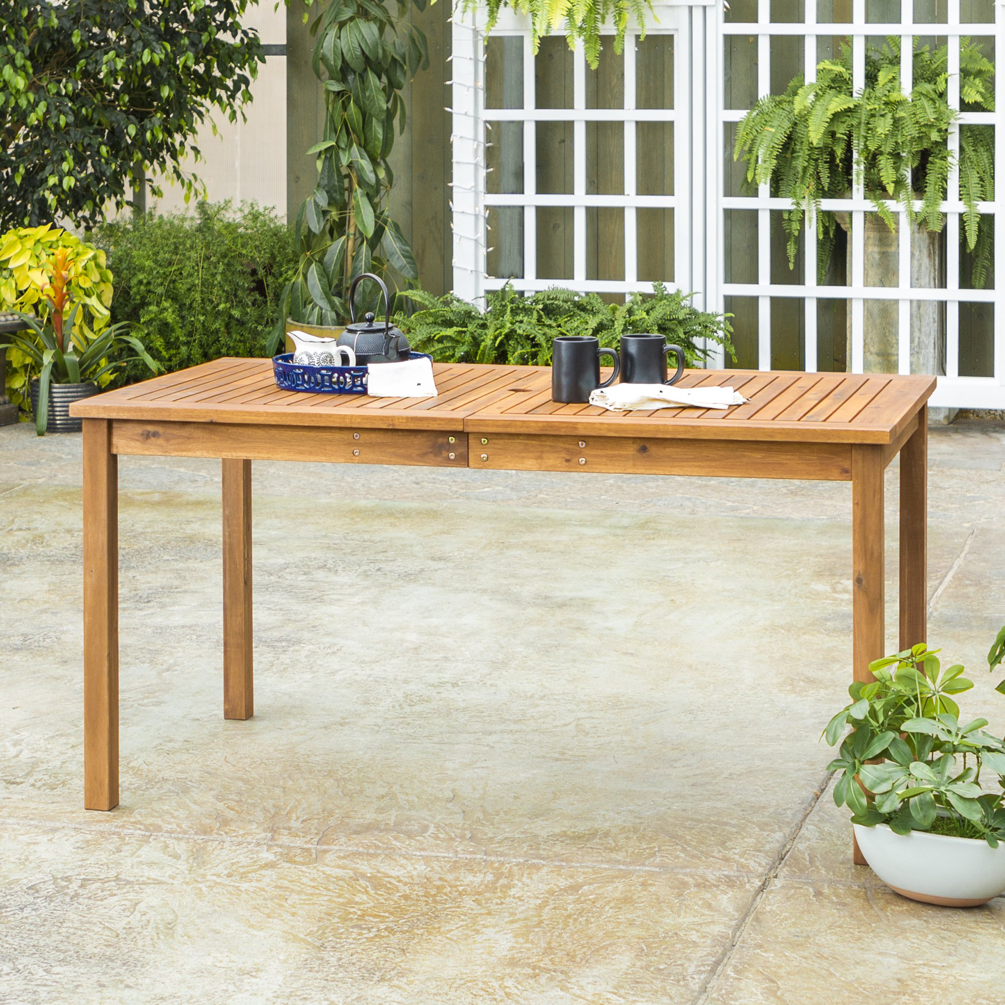 WE Furniture AZWSDTBR Outdoor Dining Table, 60'', Brown