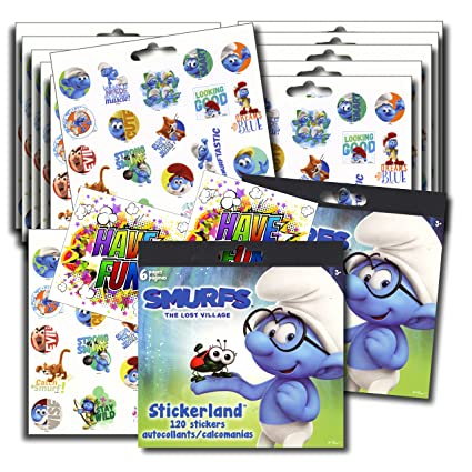 Smurfs stickers party favors bundle of 12 sheets 240 stickers plus 2 specialty stickers