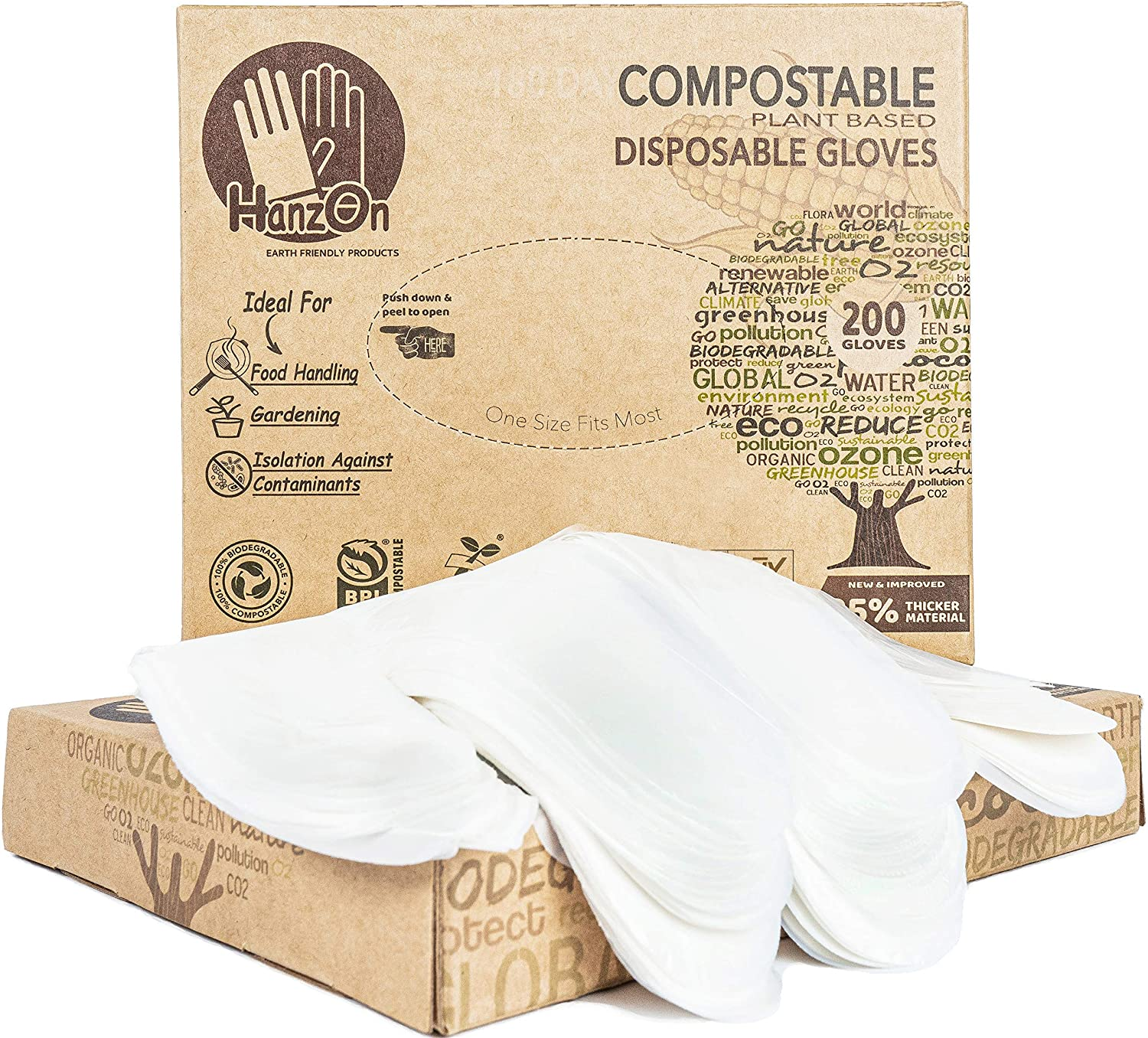 HanzOn 100% Compostable Food Prep Disposable Gloves - 200 pcs Box - Restaurant Grade Safe for Cooking, Handling & Serving - Protective Powder Free - One Size Fits Small Medium & Large Hand