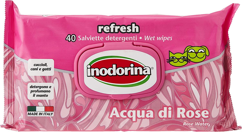 Inodorina Toallitas Refresh Agua de Rosas, 40 Unidades