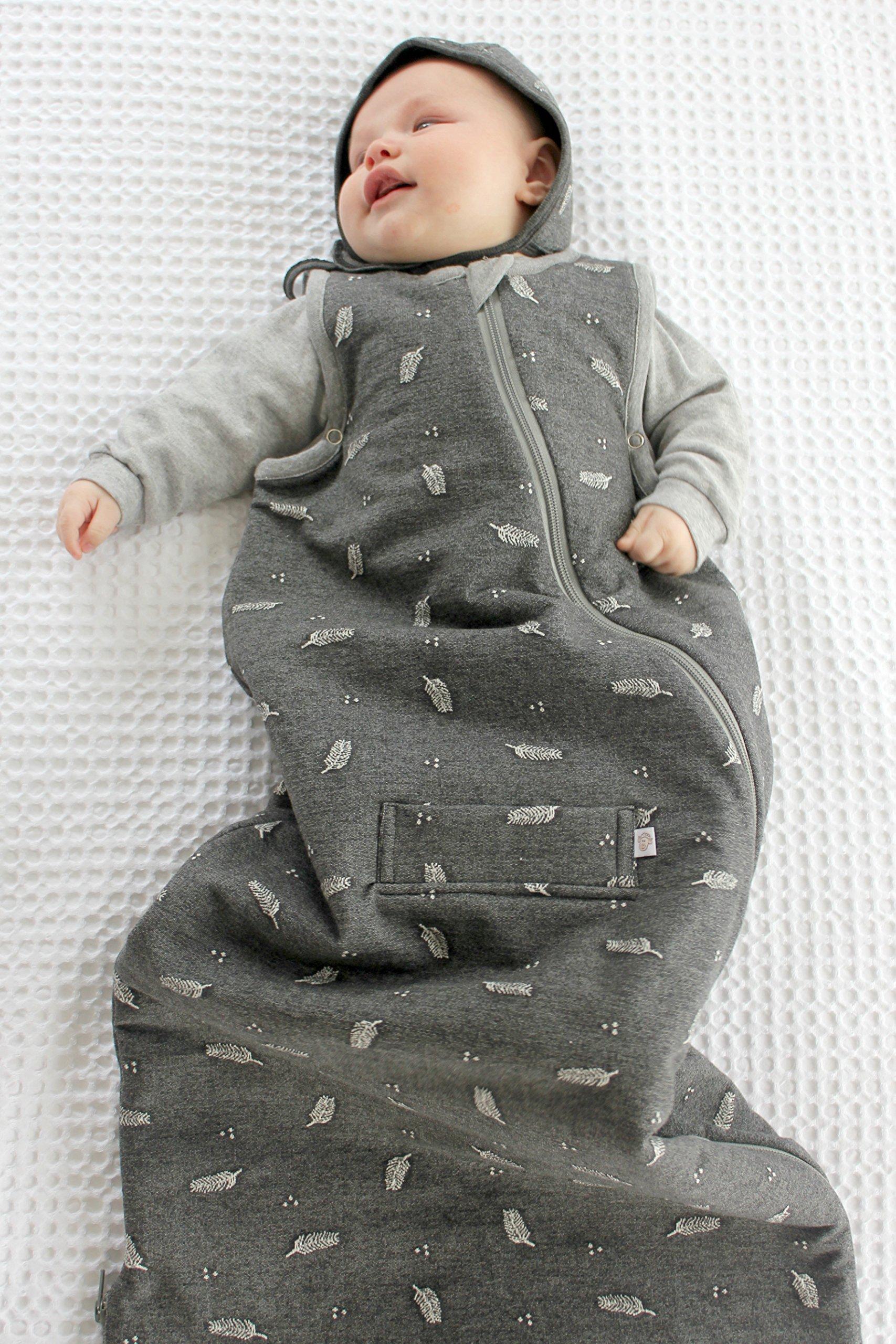 WINTER DUVET DELUXE MERINO baby Sleeping Bag/ Sleep Bag, 0-2 yrs old, Charcoal Feather